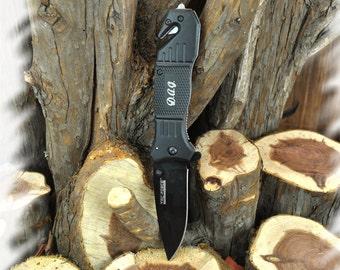 Rescue Knife (2 Knives) Engraved Pocket Knife , Groomsmen Gift , Wood Handle Pocket Knife Gift , Tactical Knife, Hunting Knives
