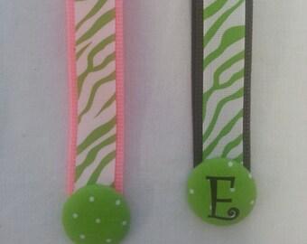 Wristlet Keyfob Lime Green Zebra Ribbon Keychain Personalized