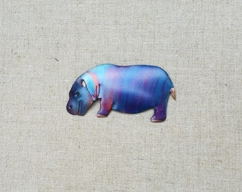 Flame painted copper Hippo, pin