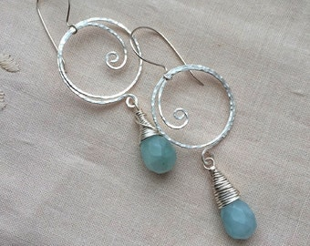 Handmade hammered silver wire loops dangling earrings with chalcedony beads