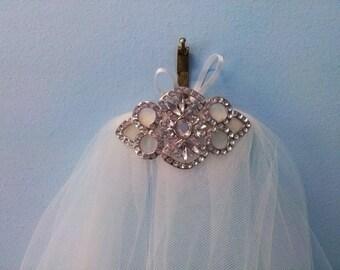 Silver veil. Two tier silver trim wedding veil.  Silver bridal veil. 2 tier silver veil