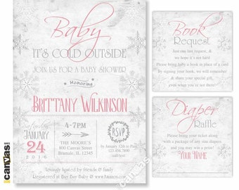 Baby Its Cold Outside Baby Shower Invitation, Valentine Shower Invitation, Winter Invite, Snowflake Pink Baby Girl, Rustic, Shabby Chic BS39