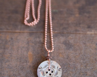 Vintage Carved Mother of Pearl Button Necklace