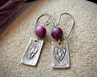 Fine Silver Earrings With Roughed Hearts & Purple Crazy Agate Beads