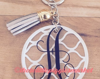 """Personalized Circle Initial Keychain with Tassel 2"""""""
