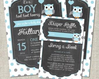 Owl Baby Shower Invitation, Owl Invitation, Owl, Blue, Gray, Polka Dots, Balloon   Printable