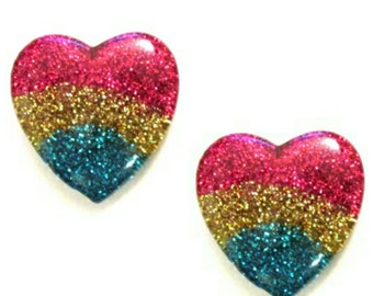 Glitter Heart Cabochons | Resin Flatback | DIY Supplies | Jewelry Supplies | Embellishments | Warehouse1711