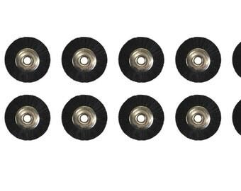 "12 Pack of 3/4"" Unmounted Black Bristle Brushes 3/32"" Hole Jewelry Cleaning Metal Finishing Polishing Rotary Tool - BRUS-0020"