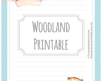 Woodland owl - printable writing paper