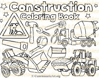 Construction Coloring Book Digital Pages Sheets Party Zone Site Vehicle Truck Kids Boys