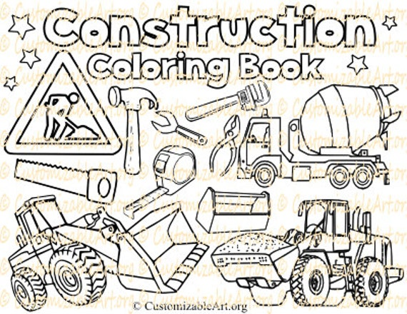 Items Similar To Construction Coloring Book Digital Pages Sheets Party Zone Site Vehicle Truck Kids Boys