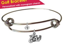 Golf Jewelry- Golf Bracelet- Golf Accessories- Golf Team Gift- Golf Gifts for Women- Golfer Jewelry- Golf Charm Bracelet- Golf Ball Charm