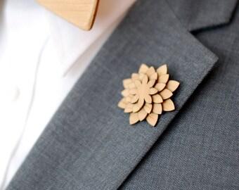 Maple Lapel Pin - Wood Lapel Pin - Mens lapel flower