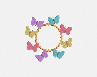 Scalloped Circle With Butterflies Applique Machine Embroidery Design - 1 Size