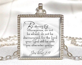 JOSHUA 1:9 SCRIPTURE JEWELRY Bible Quote Jewelry Scripture Pendant Faith Jewelry Bible Quote Pendant Jewish Gift Christian Gift Comfort