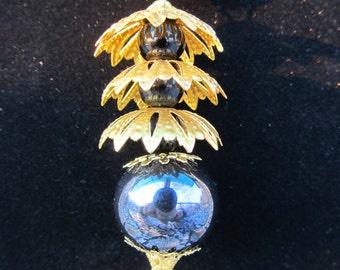 Ceramic Pagoda and Pearl pendant necklace Hematite