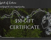 50 dollar gift certificate download Mothers day gift Gift for teacher Printable gift card for wire wrapped jewelry Instant download print