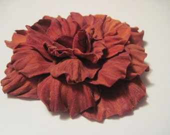 Floral Hair Accessory, Leather Flower Rose,  Hair Tie, Ponytail Holder, Leather Bracelet