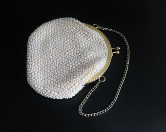 50s White  Bead Bag Purse Gold Chain Strap Small Evening Formal Purse