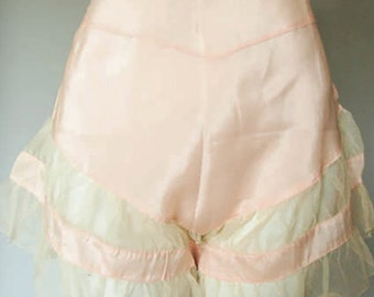 Vintage 1930's Tap Panties W Tulle Ruffles ~ French  Lingerie Peachy Pink Silk