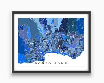 Santa Cruz Map Print, California, USA, Blue City Wall Art