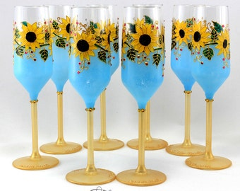 Sunflower wedding glasses, Sunflower glasses, Summer wedding, Wedding glasses, Champagne flutes, Wine glasses, Set of 2
