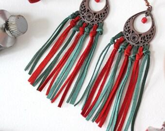 Frida Kahlo earrings/Leather earrings/Fringe earrings/Mexican earrings/Ethnic earrings/Boho earrings/Gift fot her/