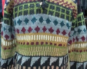 Maglione anni 80 in pura lana. Fatto a mano in Ecuador/1980s hand-knitted jumper/Pure wool/Made in Ecuador