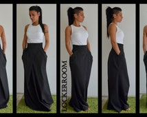 Long black skirt / Floor length skirt /Maxi black skirt / High waist skirt