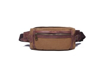 Tan canvas and leather waist bag / small sling leather and canvas bag / leather sling bag / leather cross body sling