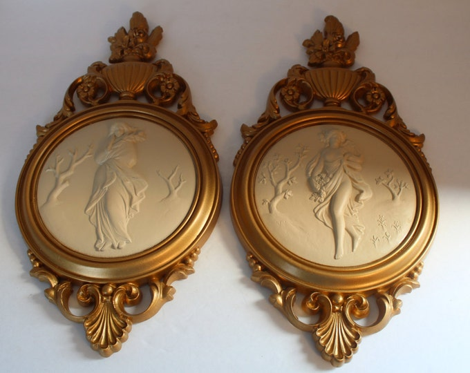 Vintage Goddess Wall Hangings, Wall Plaques, Art Plaques, Set of 2