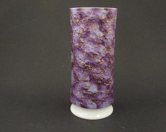 Very large KPM porcelain vase by Royal Porzellan Bavaria, white purple white gold 70s