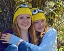 Minion Hat, Yellow Knit Beanie Inspired by Despicable Me, Choose One or Two Eyes