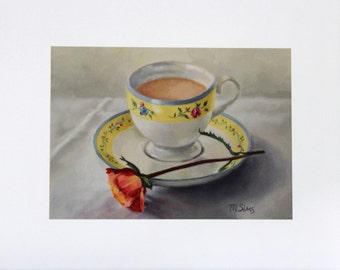 Teacup still life - still life painting - Still life - kitchen art - Wall decor - giclee print