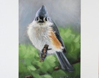 Tufted Titmouse - Titmouse - bird painting - Songbird art - Open edition print