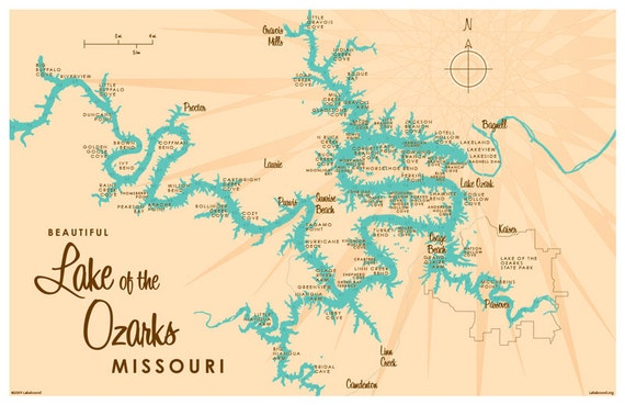 Lake of the Ozarks MO Map Print with mile markers
