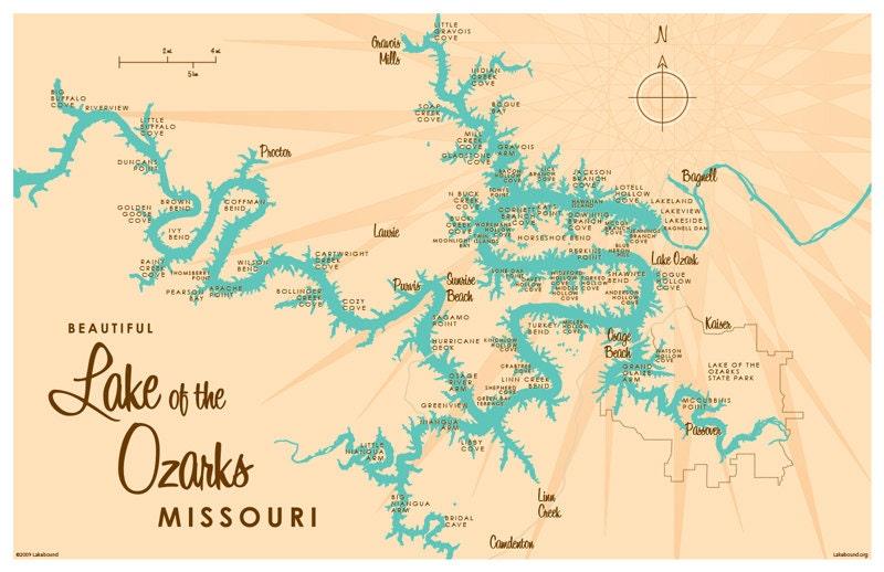 Lake of the Ozarks MO Map Print
