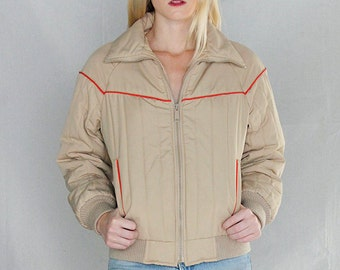 ON SALE MINT Vintage 70's Quilted Bomber Jacket sz Small / Vintage 70's Ski Jacket  / Khaki  Zip Front Ski Jacket
