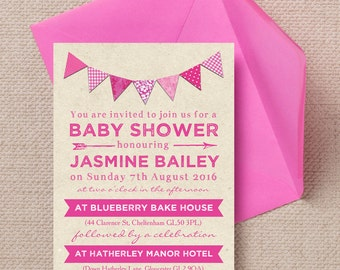Personalised Vintage Rustic Kraft and Pink Bunting Baby Shower Invitation Cards