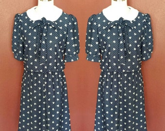Vintage Navy Blue Peter Pan Collar Dress/Med 8/10