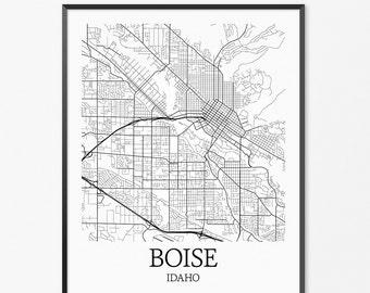 Boise Map Art Print, Boise Poster Map of Boise Decor, Boise City Map Art, Boise Gift, Boise Idaho Art Poster