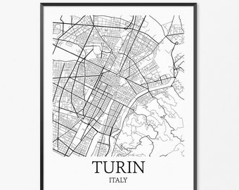 Turin Map Art Print, Turin Poster Map of Turin Decor, Turin City Map Art, Turin Gift, Turin Italy Art Poster
