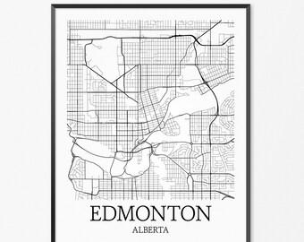 Edmonton Map Art Print, Edmonton Poster Map of Edmonton Decor, Edmonton City Map Art, Edmonton Gift, Edmonton Alberta Art Poster