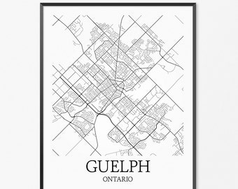 Guelph Map Art Print, Guelph Poster Map of Guelph Decor, Guelph City Map Art, Guelph Gift, Guelph Ontario Art Poster