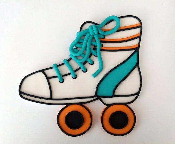 flat fondant roller skate cake topper made to order. Black Bedroom Furniture Sets. Home Design Ideas