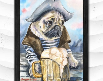 Pug Gandalf  Print of the Original Watercolor Painting art cute Sweet Dog painting Decor Animal Pirate Carribian
