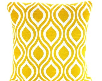 Yellow Decorative Throw Pillow Covers, Cushions, Corn Yellow White Nicole Geometric Couch Pillows, Euro Sham, Cushions One or More All Sizes