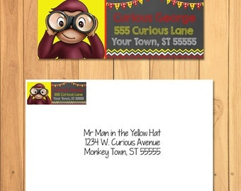 Curious George Return Address Label Chalkboard * Curious George Mailing Label * Curious George Favors * Curious George Birthday Party