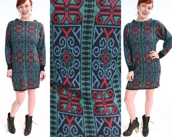 SALE 1980's Short Sweater Dress Bright GRAPHIC Abstract Print Dress | small medium VTG Stained Glass Geometric Baroque Knit Frock