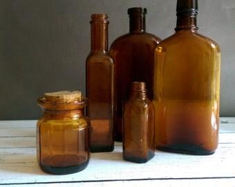 Vintage Amber Bottles/ Amber Bottle Lot/ Vintage Amber apothecary bottles/ Instant Amber bottle Collection